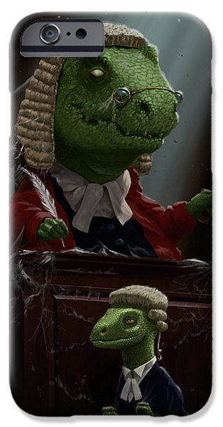 Police Art iPhone Cases - Dinosaur Judge in UK Court of Law iPhone Case by Martin Davey