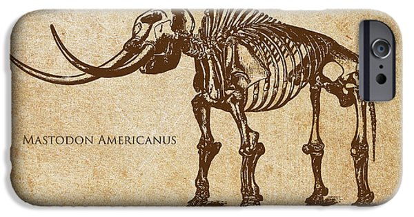 Dinosaur iPhone Cases - Dinosaur Mastodon Americanus iPhone Case by Aged Pixel