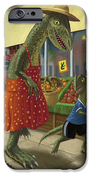 Kids Sports Art iPhone Cases - Dinosaur Mum Out Shopping With Son iPhone Case by Martin Davey