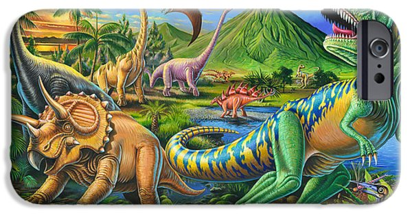 Dinosaur iPhone Cases - Dinosaur Scene iPhone Case by Mark Gregory