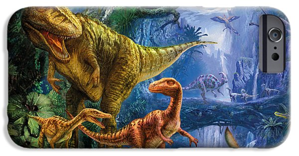T Rex iPhone Cases - Dinosaur Valley iPhone Case by Jan Patrik Krasny