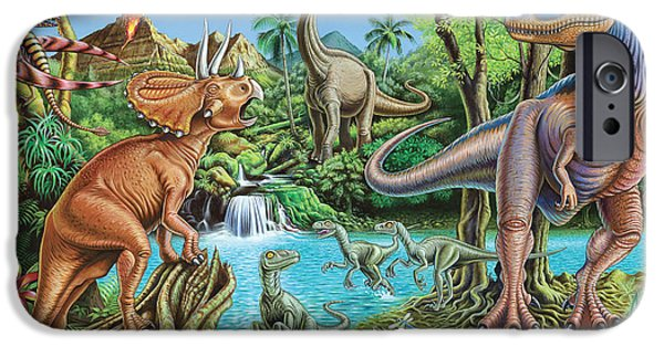 Recently Sold -  - Fauna iPhone Cases - Dinosaur Waterfall iPhone Case by Mark Gregory