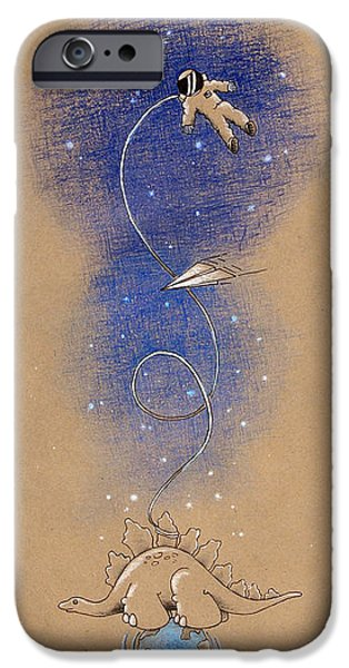 Child Mixed Media iPhone Cases - Dinosaurs and Astronauts iPhone Case by David Breeding
