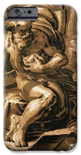 Chickens iPhone Cases - Diogenes, Engraved By Ugo Da Carpi 147080-1532 Chiaroscuro Woodcut iPhone Case by Parmigianino