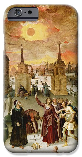 Cosmological iPhone Cases - Dionysius The Areopagite Converting The Pagan Philosophers, 1570s Oil On Panel iPhone Case by Antoine Caron