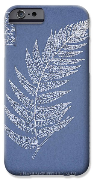 Botany Digital Art iPhone Cases - Diplazium Griffithii iPhone Case by Aged Pixel