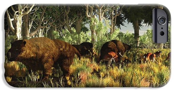 Kangaroo Digital Art iPhone Cases - Diprotodon On The Edge Of A Eucalyptus iPhone Case by Arthur Dorety