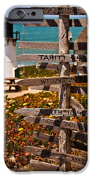 Sign iPhone Cases - Directional Signs On A Pole With Light iPhone Case by Panoramic Images