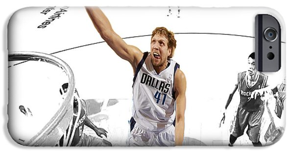 Dunk iPhone Cases - Dirk Nowitzki iPhone Case by Brian Reaves