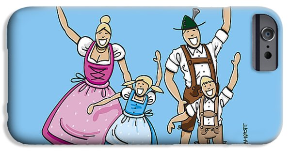 Woman iPhone Cases - Dirndl And Lederhosen Family Waving Hands iPhone Case by Frank Ramspott
