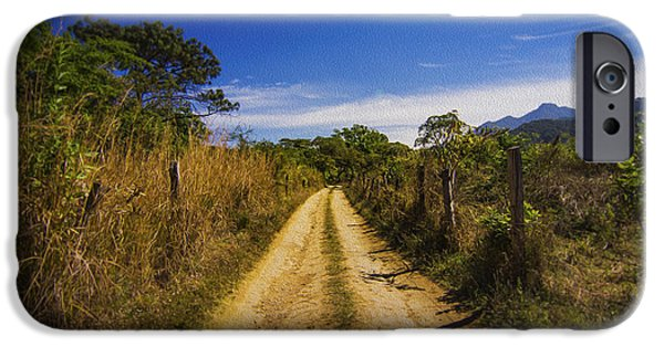 Walkway Digital Art iPhone Cases - Dirt Road iPhone Case by Aged Pixel