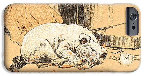 Bull Dog iPhone Cases - Disappointment at not finding the Chocolates iPhone Case by Cecil Charles Windsor Aldin