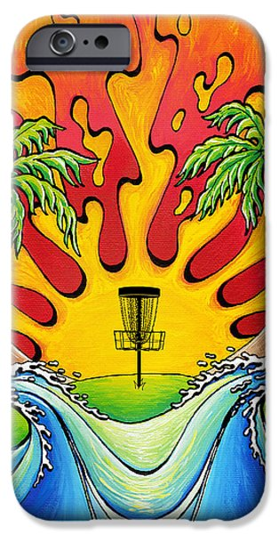 Disc Paintings iPhone Cases - Disc Golfers Paradise iPhone Case by Adam Johnson