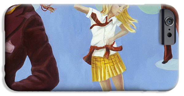Schoolboy iPhone Cases - Disco 2000 1 Acrylic & Oil On Canvas iPhone Case by Alix Soubiran-Hall