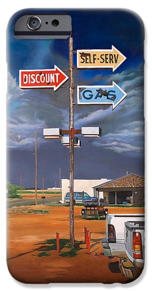 Gas Paintings iPhone Cases - Discount Self-Serv Gas iPhone Case by Karl Melton