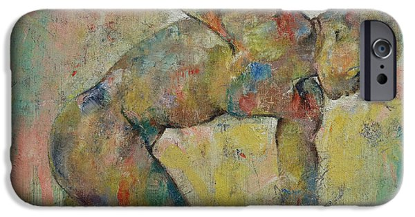Michael Paintings iPhone Cases - Discus iPhone Case by Michael Creese
