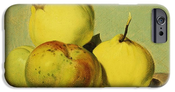 Object Paintings iPhone Cases - Dish of Apples and Quinces iPhone Case by David Johnson