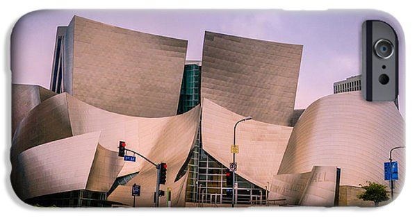 Hall Pyrography iPhone Cases - Disney Concert Hall iPhone Case by Alexis Cruz