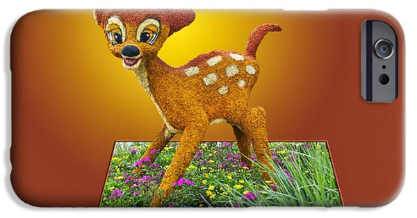 Frame Shop Digital iPhone Cases - Disney Floral 03 Bambi iPhone Case by Thomas Woolworth