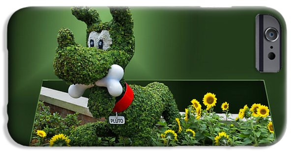 Frame Shop Digital iPhone Cases - Disney Floral 04 Pluto iPhone Case by Thomas Woolworth
