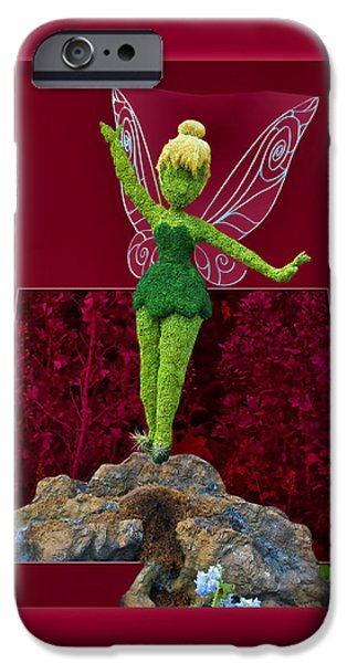 Tinker Bell iPhone Cases - Disney Floral Tinker Bell 01 iPhone Case by Thomas Woolworth