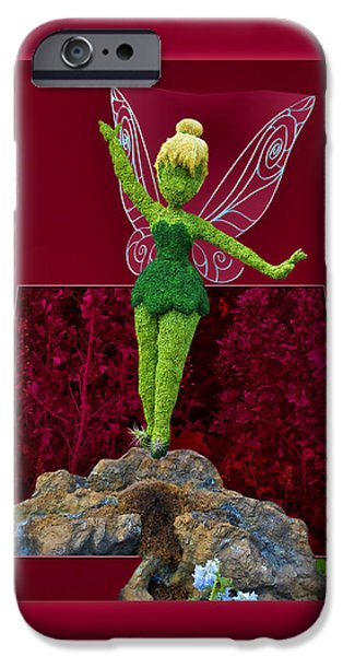 Tinker Bell iPhone Cases - Disney Floral Tinker Bell 02 iPhone Case by Thomas Woolworth