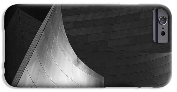 Modern Architecture iPhone Cases - Disney Hall Abstract Black and White iPhone Case by Rona Black
