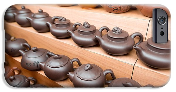 Chinese Market iPhone Cases - Display Of Chinese Teapots, Chinatown iPhone Case by Panoramic Images