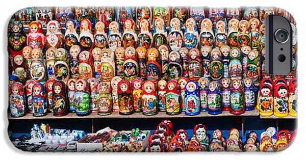 Moscow iPhone Cases - Display Of The Russian Nesting Dolls iPhone Case by Panoramic Images