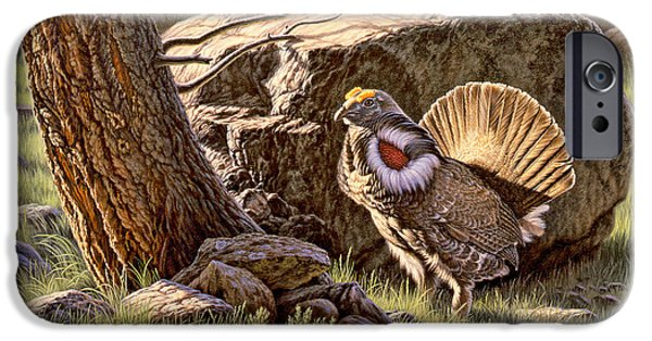 Yellowstone Park iPhone Cases - Displaying--Blue Grouse iPhone Case by Paul Krapf