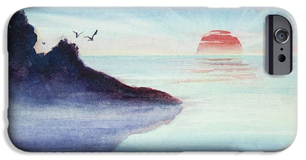 Sun Rays Paintings iPhone Cases - Distant Shoreline Sunrise Watercolor Painting iPhone Case by Michelle Wiarda
