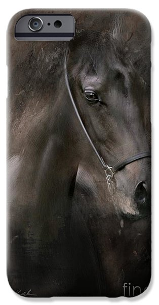 Horse Digital Art iPhone Cases - Distinguished iPhone Case by Dorota Kudyba