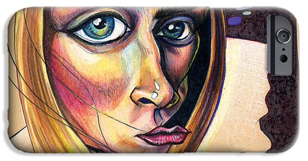Colored Pencil Abstract iPhone Cases - Distorted Beauty iPhone Case by John Ashton Golden