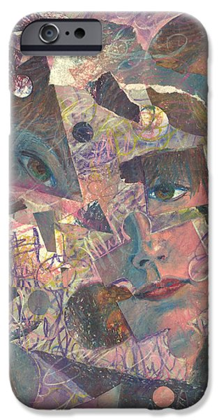 Self-portrait Mixed Media iPhone Cases - Distraction a self portrait iPhone Case by Melinda Dare Benfield