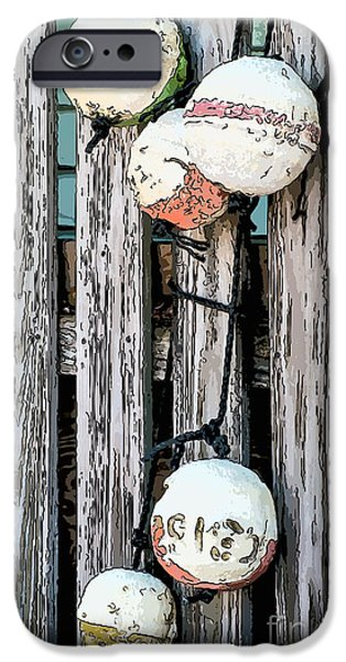 Waiter Digital iPhone Cases - Distressed Buoys on Fencing Key West - Digital iPhone Case by Ian Monk