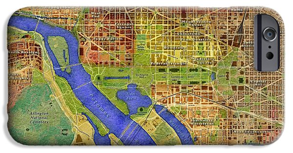 District Columbia iPhone Cases - District of Columbia Map iPhone Case by Paul Hein