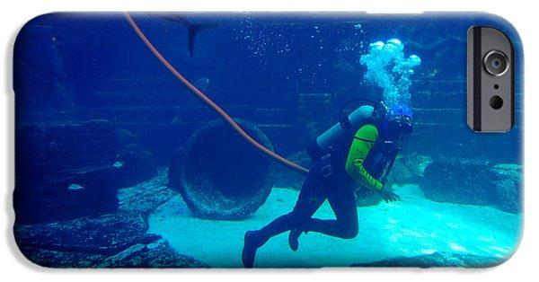 Wet Suit iPhone Cases - Diver at The Dig Aquarium Atlantis Resort iPhone Case by Amy Cicconi