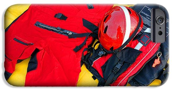 Wet Suit iPhone Cases - Diver Emergency Rescue Kit iPhone Case by Olivier Le Queinec