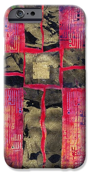 Crucifix iPhone Cases - Divided Cross, 2000 Acrylic & Gold Leaf On Canvas iPhone Case by Laila Shawa