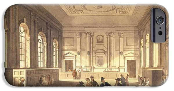 Merchants iPhone Cases - Dividend Hall At South Sea House, Pub. By R. Ackermann, 1810 Aquatint iPhone Case by T. Rowlandson