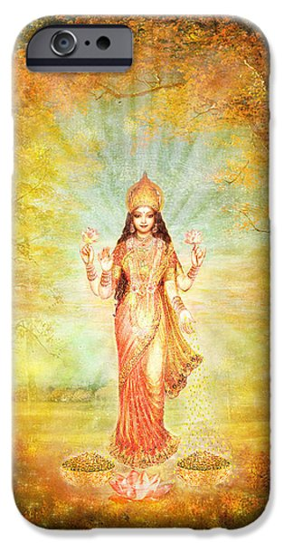 Hindu Goddess iPhone Cases - Lakshmi Vision in the Forest  iPhone Case by Ananda Vdovic