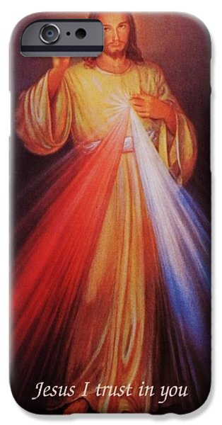 Divine Mercy iPhone Cases - Divine Mercy big file iPhone Case by Anna Baker