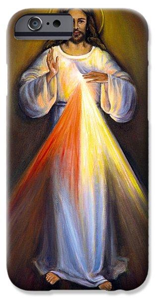 Divine Mercy iPhone Cases - Divine Mercy I iPhone Case by Sheila Diemert