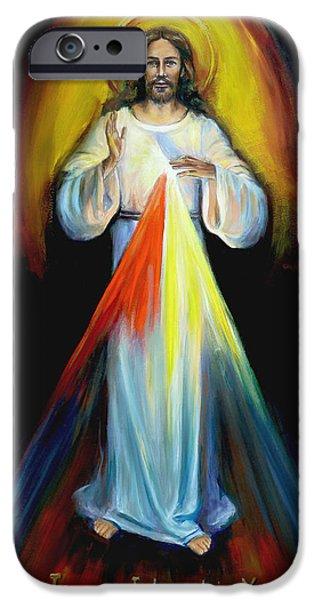 Divine Mercy iPhone Cases - Divine Mercy III iPhone Case by Sheila Diemert