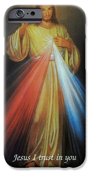 Mercy iPhone Cases - Divine Mercy Jesus iPhone Case by Anna Baker