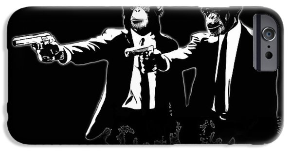 Monkey iPhone Cases - Divine Monkey Intervention - Pulp Fiction iPhone Case by Nicklas Gustafsson