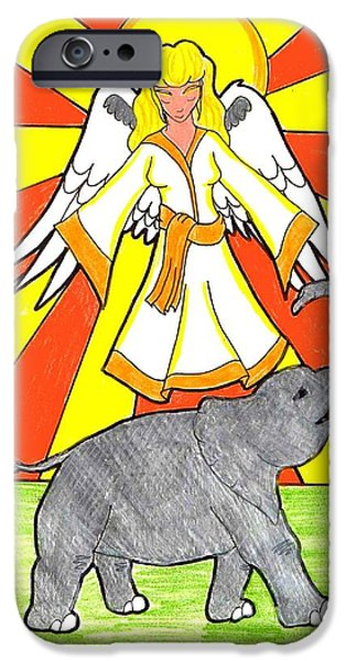 Angelic Drawings iPhone Cases - Divine Protector iPhone Case by Wendy Coulson
