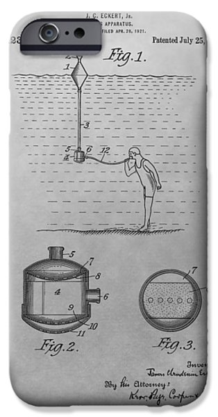 Gear Drawings iPhone Cases - Diving Apparatus Patent Drawing iPhone Case by Dan Sproul