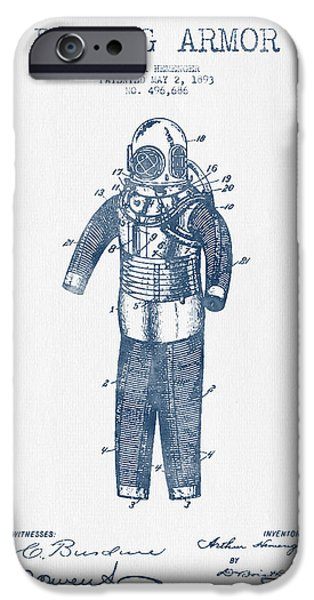 Diver iPhone Cases - Diving Armor Patent Drawing from 1893  -  Blue Ink iPhone Case by Aged Pixel