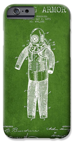 Diver iPhone Cases - Diving Armor Patent Drawing from 1893 - Green iPhone Case by Aged Pixel